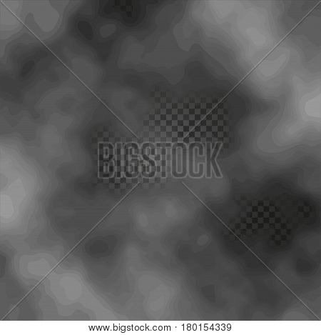Fog or smoke isolated transparent special effect on dark checkered background misty backdrop vector illustration.