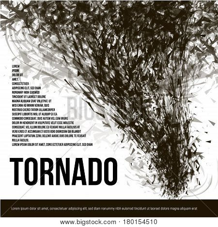 Isolated abstract black color tornado of dust in low poly style on white background banner, garbage hurricane vector illustration.