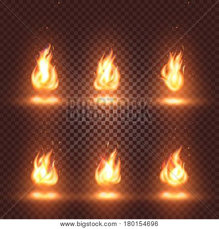 Isolated abstract realistic fire flame images set on checkered background, bonfire signs collection on dark backdrop vector illustration.