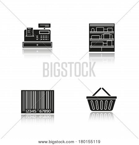 Supermarket drop shadow black icons set. Shopping basket, cash register, bar code, shop shelves. Grocery store items. Isolated vector illustrations