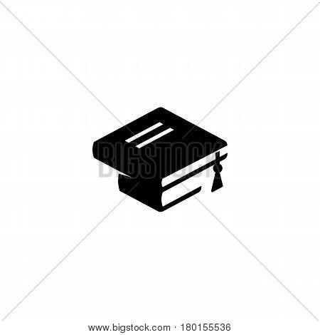 Isolated black and white color books logo on white background, bachelor hat icon, students graduation uniform logotype, education element vector illustration.
