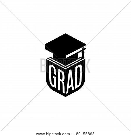 Isolated black and white color bachelor hat of books logo on white background, students graduation uniform logotype, education element vector illustration.
