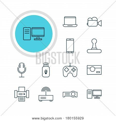 Vector Illustration Of 12 Accessory Icons. Editable Pack Of Game Controller, Photocopier, Modem And Other Elements.
