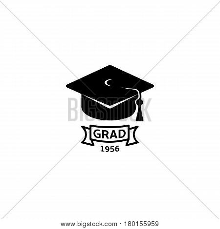 Isolated black and white color bachelor hat with word grad logo, students graduation uniform logotype, education element vector illustration.