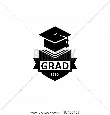 Isolated black and white color bachelor hat of books logo on white background, students graduation uniform logotype, education element vector illustration.