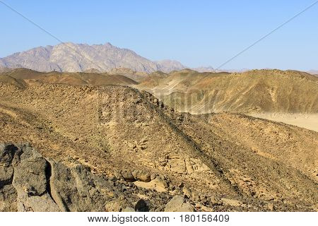 The mountains of the Red Sea in the desert of North Africa