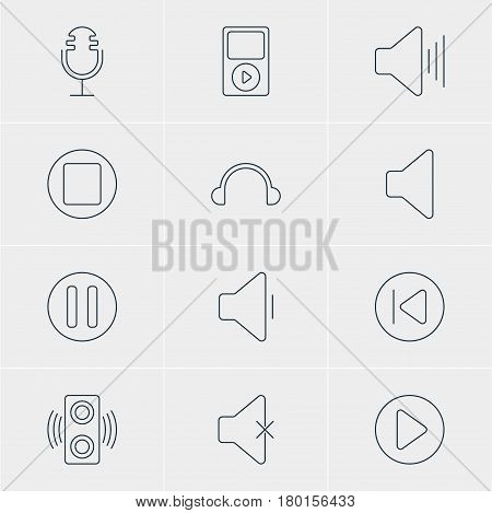 Vector Illustration Of 12 Melody Icons. Editable Pack Of Earphone, Lag, Preceding And Other Elements.