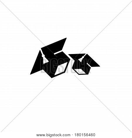 Isolated black and white color two bachelor hats logo, students graduation uniform logotype, education element vector illustration.