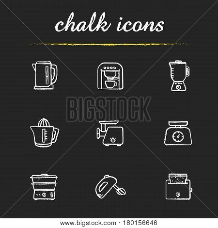 Kitchen electronics chalk icons set. Espresso machine, blender, electric kettle, juicer, meat grinder, food scales, steam cooker, hand mixer, toaster. Isolated vector chalkboard illustrations