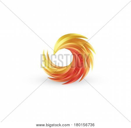 Phoenix bird and fire vector colorful icon. Abstract logo design in bright gradient colors.