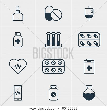 Vector Illustration Of 12 Medicine Icons. Editable Pack Of Antibody, Experiment Flask, Medicine Jar And Other Elements.