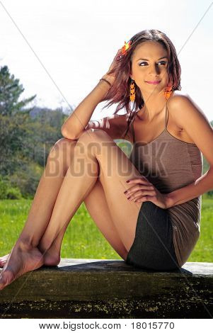Girl Sitting On Bench
