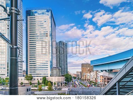 TOKYO, JAPAN - OCTOBER 02, 2015 : High-rise residential buildings in modern Odaiba district of Tokyo