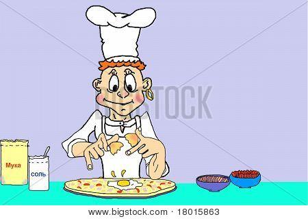 chef preparing pizza..