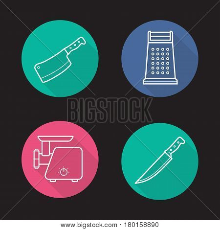 Kitchen equipment flat linear long shadow icons set. Butcher's chopper, grater, meat grinder, knife. Vector line illustration