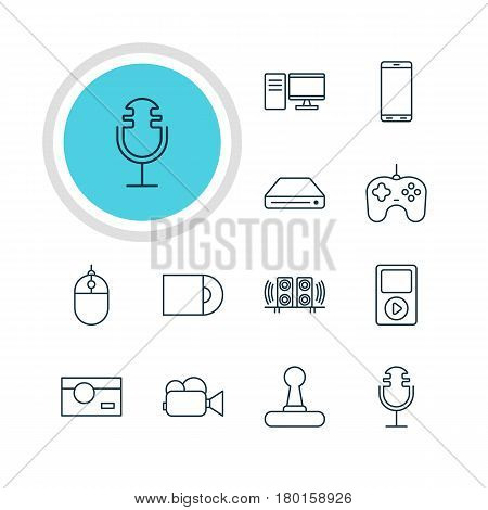 Vector Illustration Of 12 Hardware Icons. Editable Pack Of Game Controller, Smartphone, Sound Recording And Other Elements.