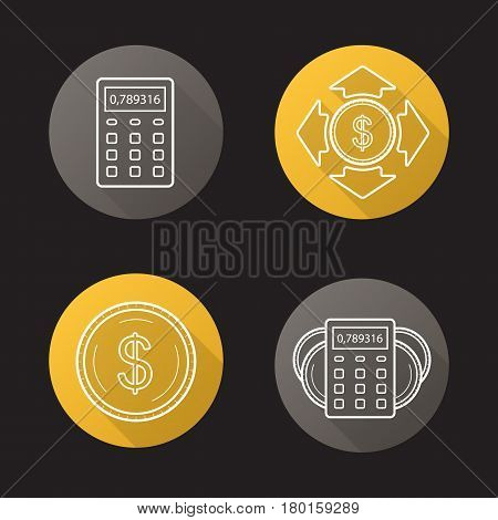 Banking and finance. Flat linear long shadow icons set. Calculator, dollar coin, money spending, income calculations. Personal financial planning. Vector line illustration