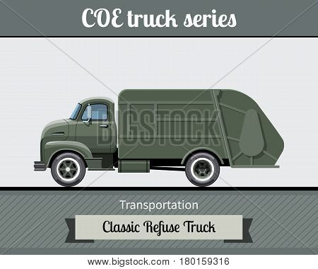Classic Coe Refuse Truck Side View