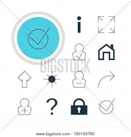 Vector Illustration Of 12 Interface Icons. Editable Pack Of Help, Remove User, Approved Profile And Other Elements.