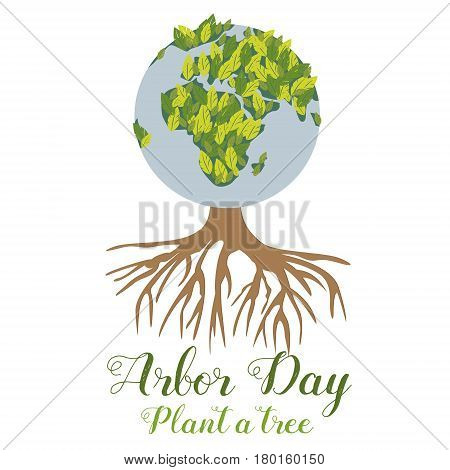 Bright Illustration of the green planet and tree for the Arbor Day.