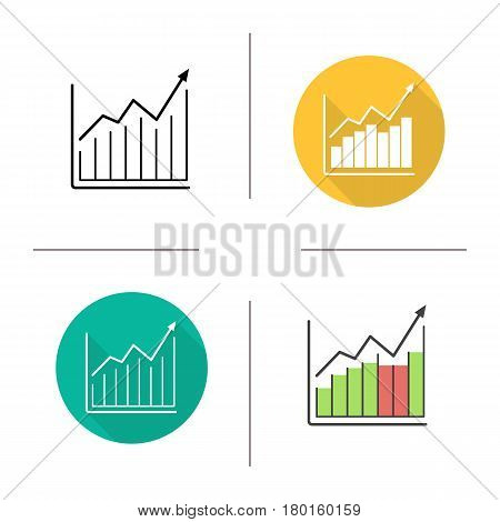 Market growth chart icon. Flat design, linear and color styles. Diagram. Business statistics graph. Isolated vector illustrations