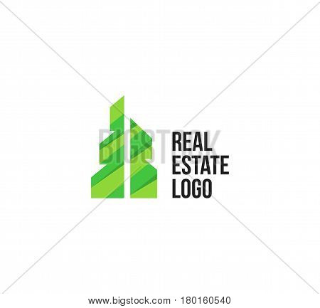 Isolated colorful real estate agency logo, house logotype on white, home concept icon, skyscraper vector illustration.