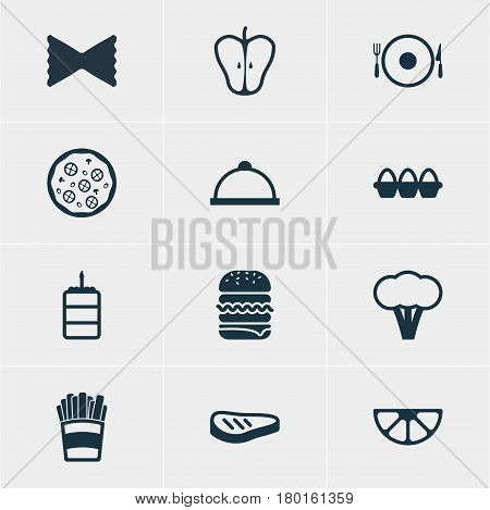 Vector Illustration Of 12 Meal Icons. Editable Pack Of Jonagold, Egg Container, Lime And Other Elements.