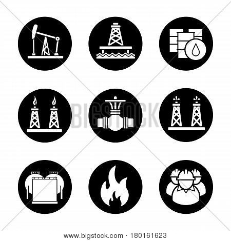 Oil industry icons set. Pump jack, barrels, pipe valve, gas and fuel production platforms, oil reservoir, flammable sign, industrial workers. Vector white silhouettes illustrations in black circles