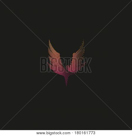 Isolated abstract pink color wings silhouette in line art style logo, bird flight logotype on black background vector illustration.
