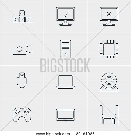 Vector Illustration Of 12 Laptop Icons. Editable Pack Of Serial Bus, Online Computer, Mainframe And Other Elements.