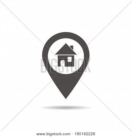 House location icon. Drop shadow map pointer silhouette symbol. Real estate pinpoint. Home nearby. Vector isolated illustration