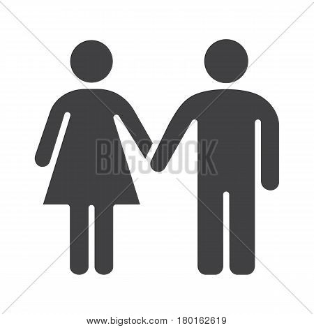 Couple icon. Silhouette symbol. Man and woman holding hands. Negative space. Vector isolated illustration