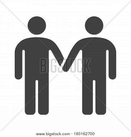 Homosexual couple icon. Gays silhouette symbol. Two men holding hands. Negative space. Vector isolated illustration