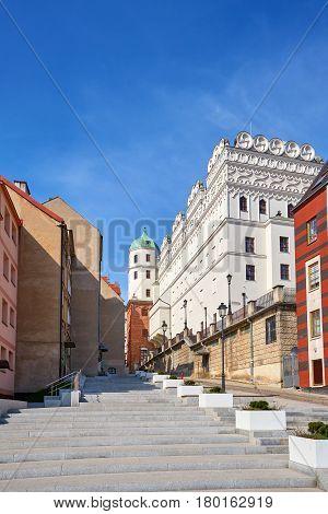 Old Narrow Street Leading To The Pomeranian Dukes Castle In Szczecin.
