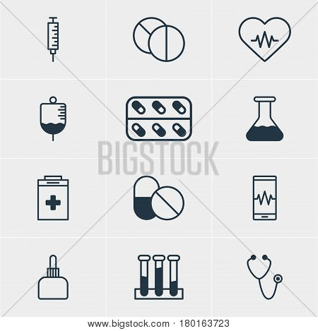 Vector Illustration Of 12 Medicine Icons. Editable Pack Of Experiment Flask, Medicament Pitcher, Antibody And Other Elements.