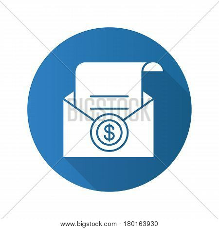 Salary flat design long shadow icon. Check in open envelope. Vector silhouette symbol