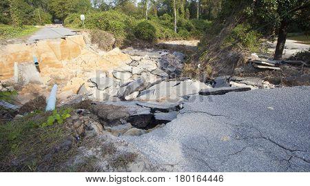 Pavement and bridge gone after Hurricane Matthew in North Carolina