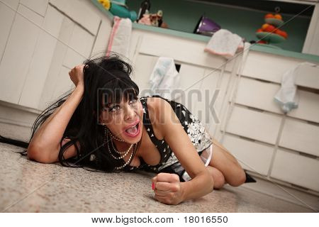 Weeping woman on the floor throws a temper tantrum on floor poster