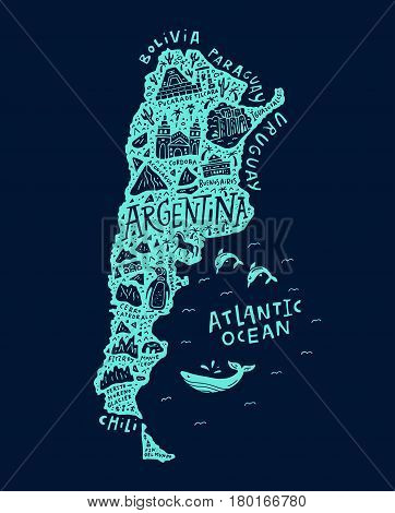 Hand drawn illustration of Argentina. Cartoon map of South America country.