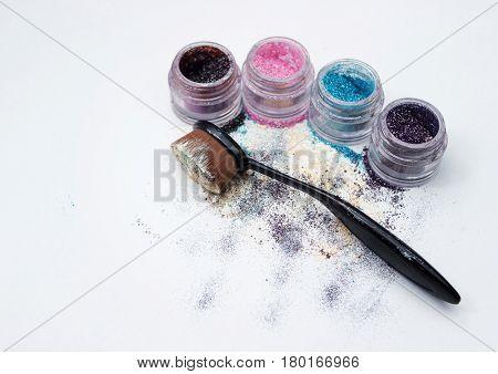Beautiful Pigments And Makeup Brush.
