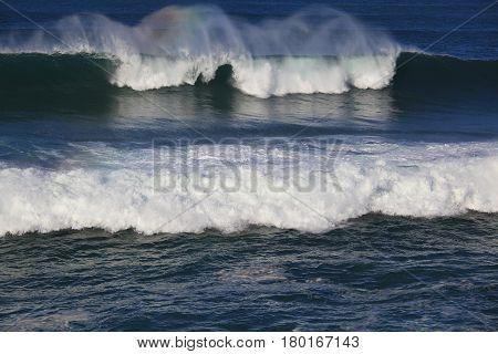 Sea surf great wave break on coastline