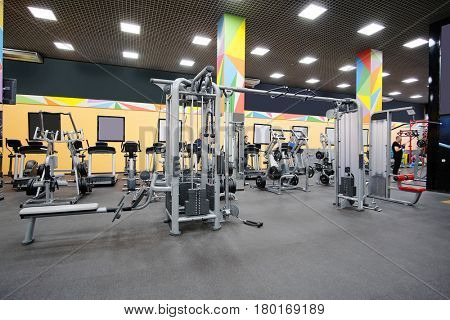 Fitness machines in a fitness club