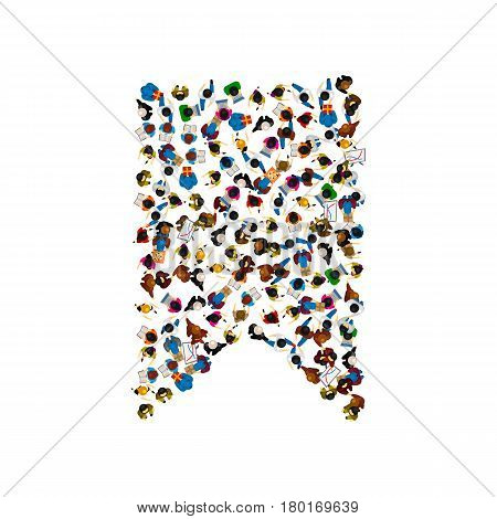 A group of people in a shape of bookmark isolated on white background . Vector illustration