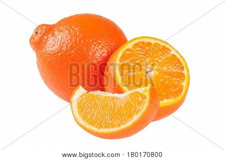 two orange tangerine or Mineola with a slices isolated on white background.