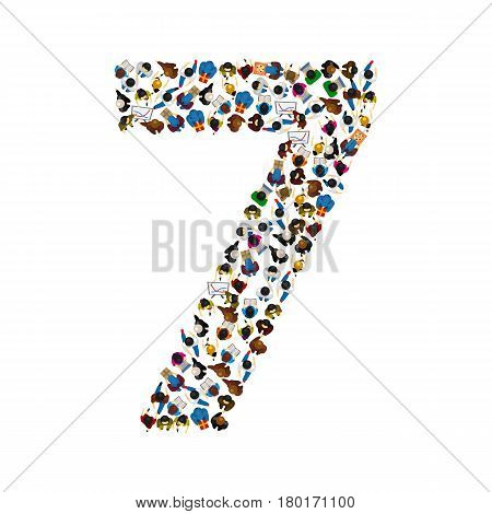 Large group of people in number 7 seven form. People font . Vector illustration
