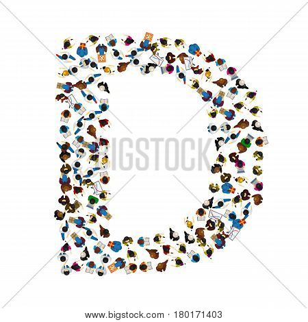 A group of people in the shape of English alphabet letter D on light background . Vector illustration.