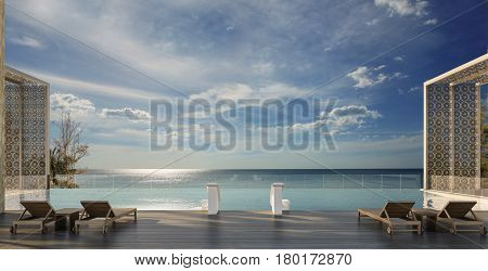 Swimming pool with Andaman Sea view at sunset- 3d rendering