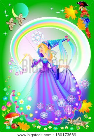 Book cover for a children's fairy tale. Illustration of beautiful medieval princess. Vector cartoon image.