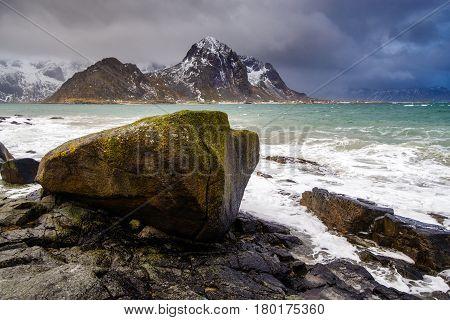 Magnificent Winter Mountain Landscape By The Sea. Rocky Seashore.
