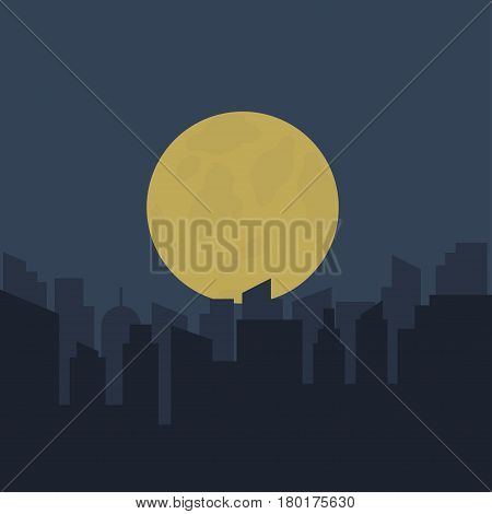 Silhouette of urban scenery at night. Vector illustration